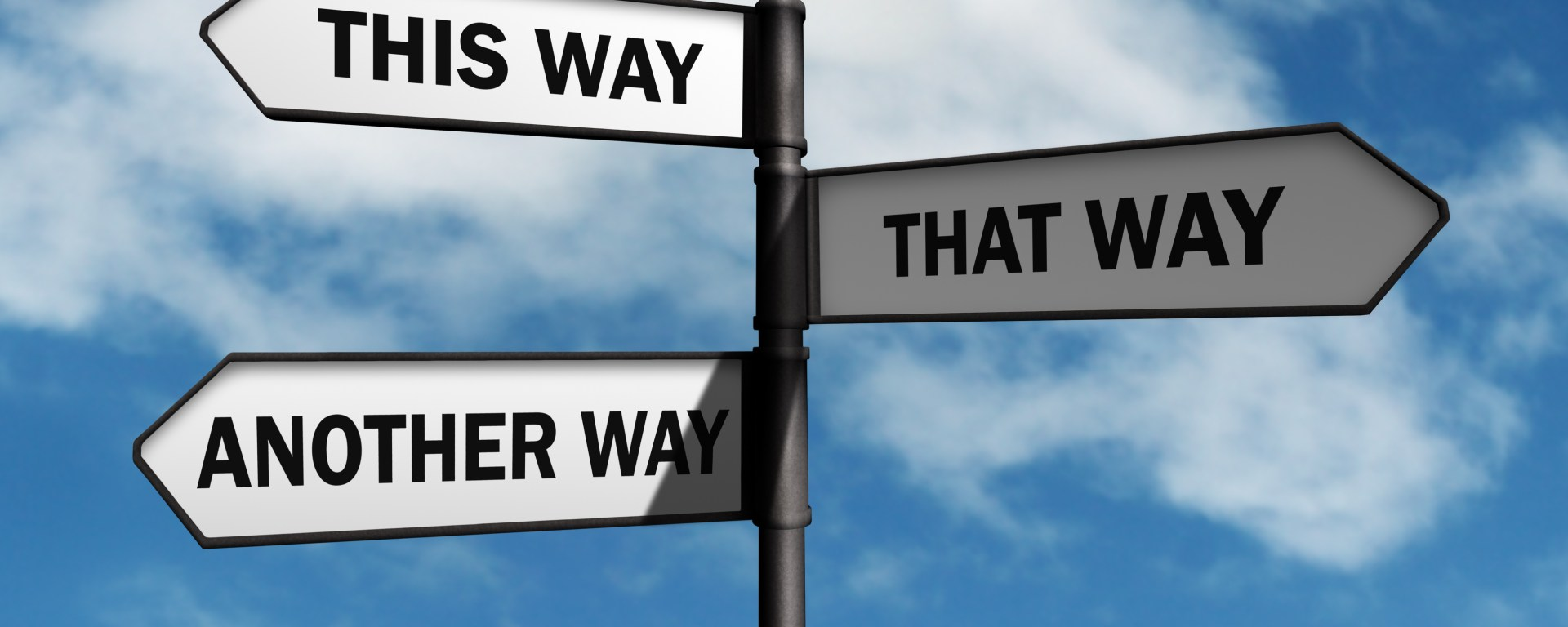 Crossroad signpost saying this way, that way, another way concept for lost, confusion or decisions