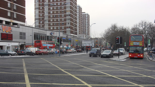 Picture of the road A401 by Shepherd's Bush Green, flanked by tower blocks