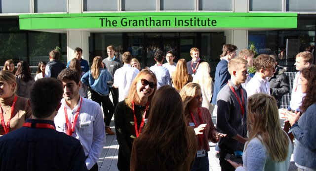Students on the MSc Climate Change, Management and Finance chatting outside the Grantham Institute