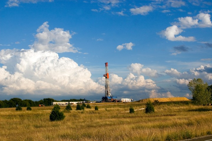 In Johnson County, Texas, a gas rig drills in Barnett Shale in the Fort Worth Basin, where they pioneered fracking and horizontal drilling.