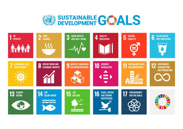 Graphic showing the UN SDGs