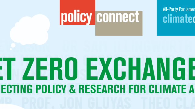 Banner reads: Policy Connect. All-Party Parliamentary Group on Climate Change. Net-zero exchanges: Connecting Policy & Research for Climate Action