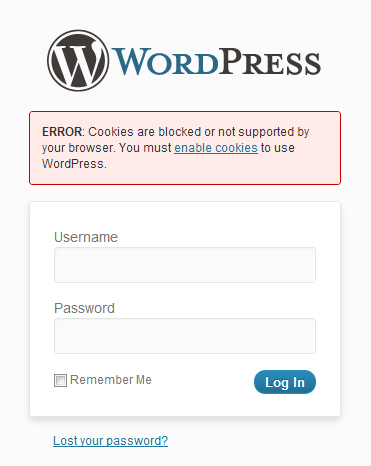 Cookies blocked in wordpress error message.