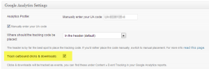 Track outbound clicks and downloads is enabled in the Yoast plugin settings