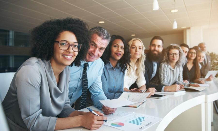 Diverse team members at work