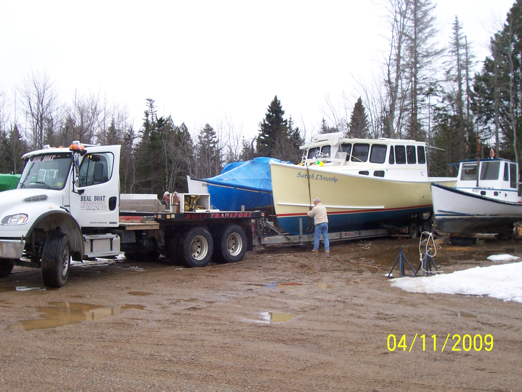Hauling the boat to the boat launch