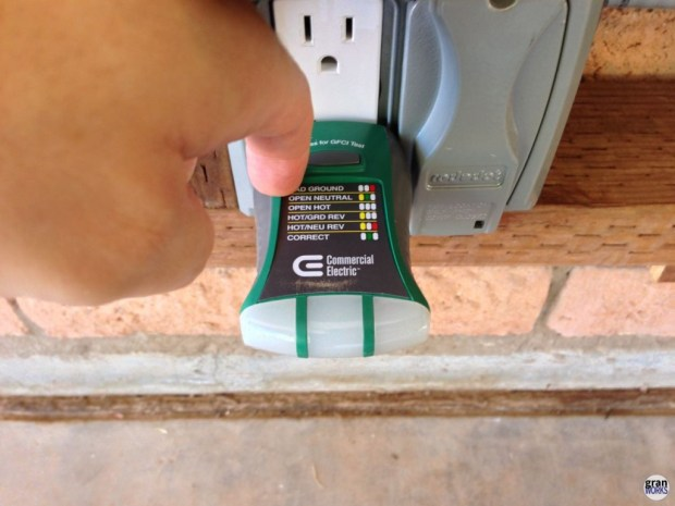 Showing the tripped GFCI tester after the trigger