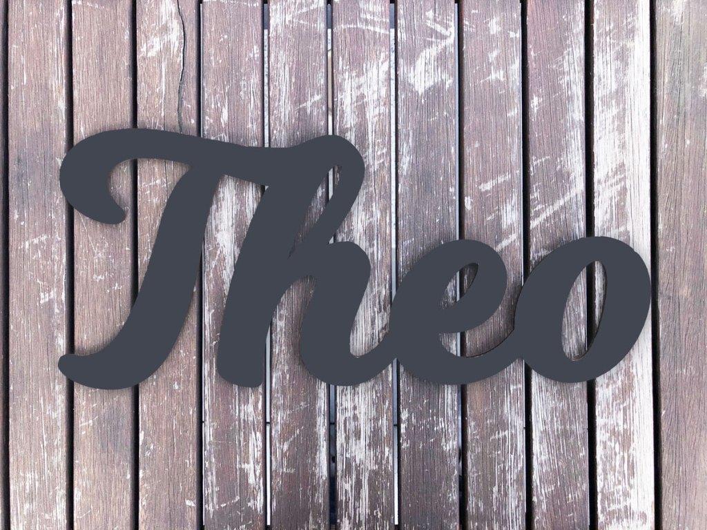 Dekoration Individueller Schriftzug aus Holz Anthrazit