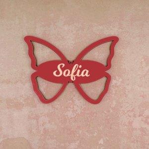 Geburt Individuelles Türschild aus Holz mit Schmetterling-Motiv