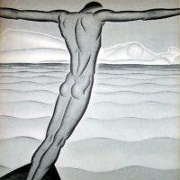 Art Deco Nude Etching