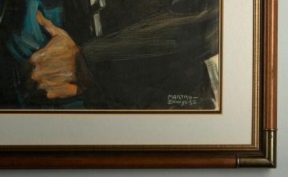 Artist's signature and corner frame profile view