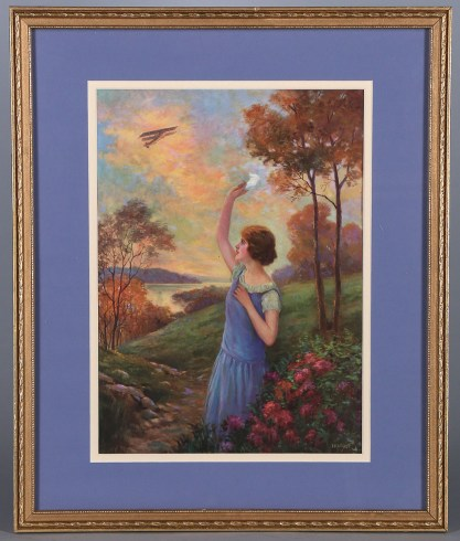 Published vintage American Art Works framed print of work included in sale