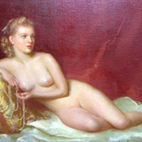 Reclining Nude With a String of Pearls