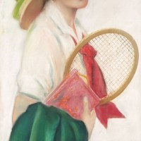 Breezy Co-Ed with Tennis Racket