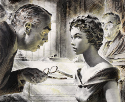 Detail of the courtroom scene