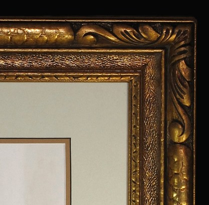 Detail view of period gesso frame