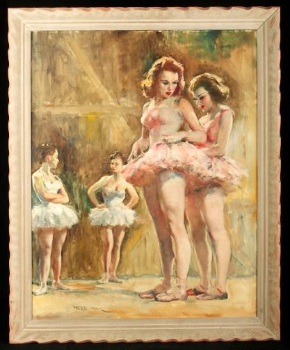Framed view in original limed wood frame