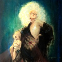 Costumed Ziegfeld Follies Girl With Mask