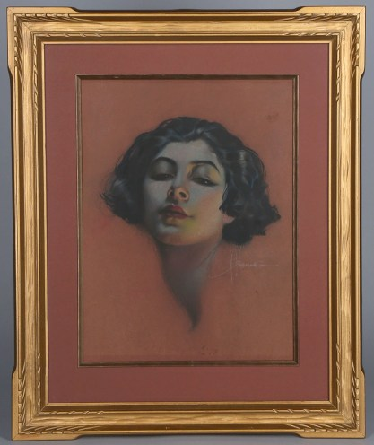 Framed and matted behind glass in beautiful period antique frame