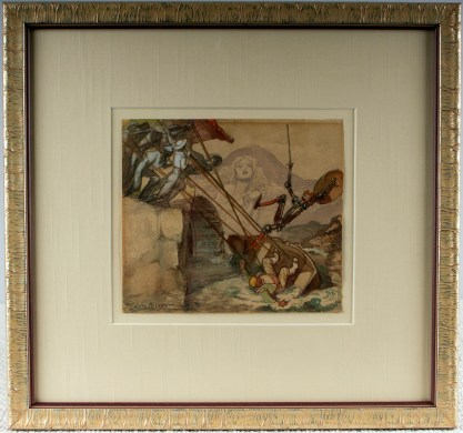 Framed and silk matted under glass