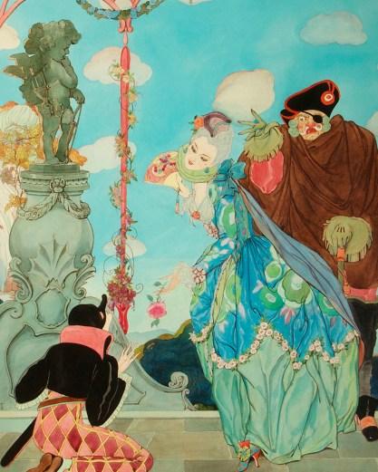 Detail of Commedia dell'arte courting scene