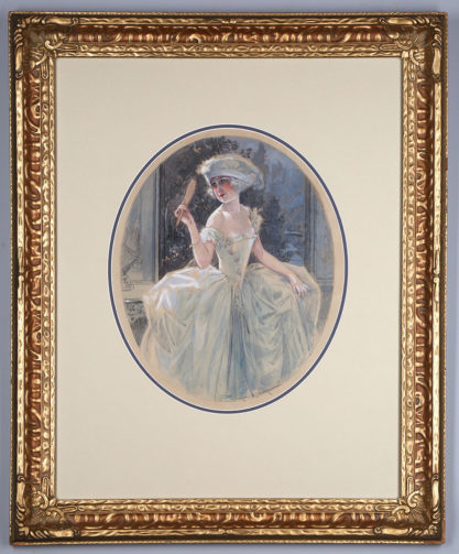 Framed and matted behind glass in an ornate antique gesso gold frame