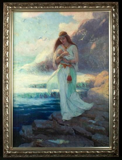 Framed in handsome wide profile silver gallery frame