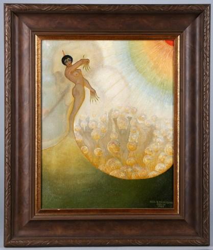 Framed in wide profile antique 1920's frame