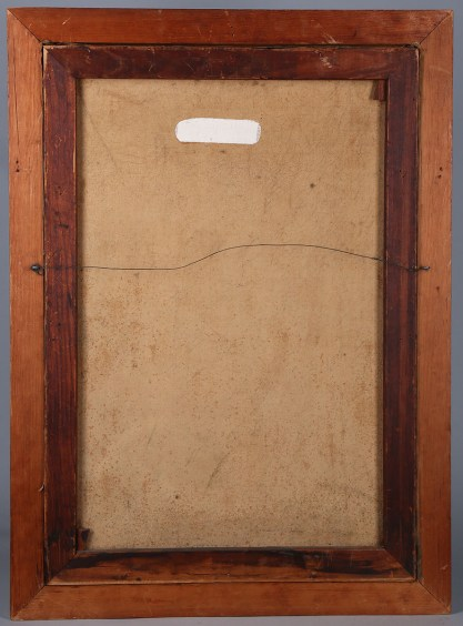 Verso view of original pine stretchers and old canvas with one professionally repaired canvas tear
