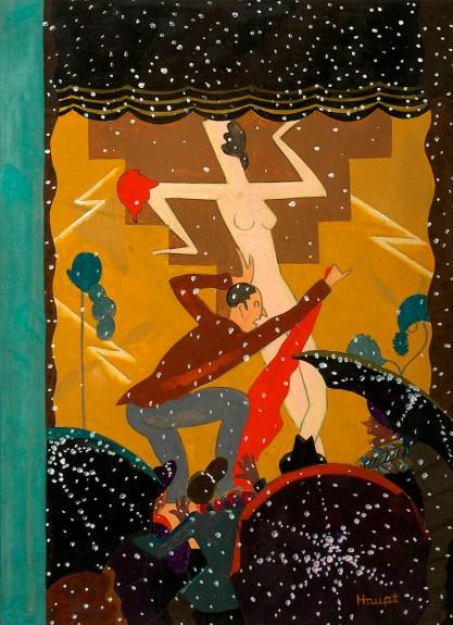 Full view of gauche painting