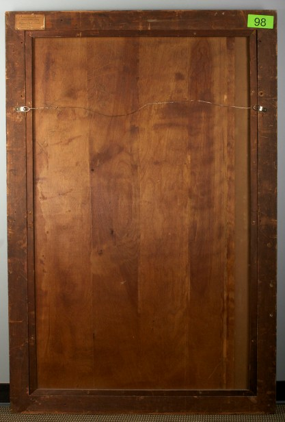 Verso view of wood panel back