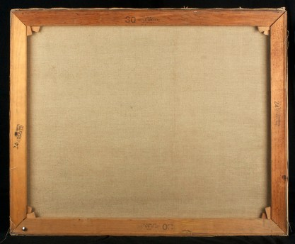 Verso view of old untouched canvas and original pine stretchers
