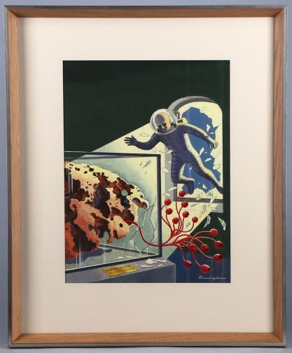 Framed and matted behind glass in limed oak retro design fine gallery frame