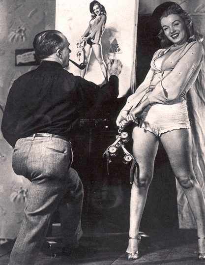 The artist Earl Moran at work with Marilyn Monroe in the late 1940s