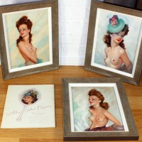 3 French Pin Up Paintings