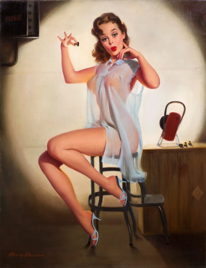 Full view of oil on canvas pin-up painting