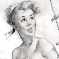 Gil Elvgren Pin-up Sketch