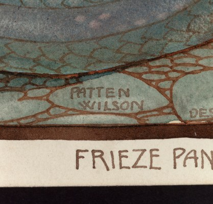 "View of text in artist's hand in lower margin ""Frieze Panel"""