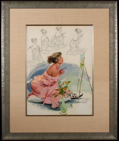 Beautifully silk matted and framed behind glass