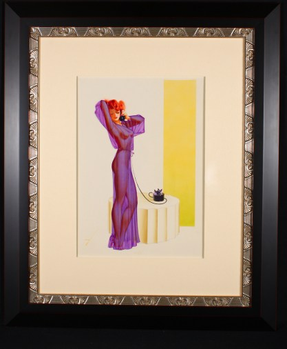 Framed and silk matted view behind glass in high end art deco gallery frame
