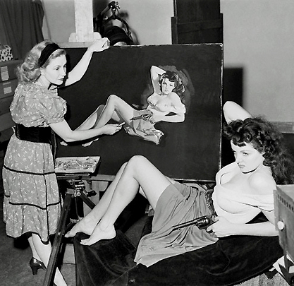 The artist sketching jane Russell for the Howard Hughes film The Outlaw.
