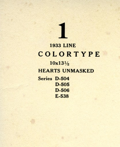 """verso title of """"Heart's Unmasked"""" and date on back of included calendar print"""