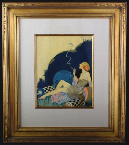 Framed and silk matted behind glass