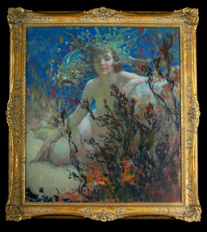 Framed in original to painting ornate Newcomb-Macklin antique frame