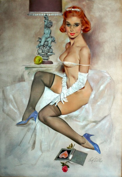 Full view of oil on canvas published pin-up painting