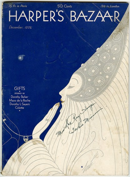 The artwork as it appeared as the cover of Harper's Bazaar - December,1932 (included in sale)