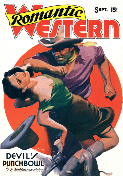 H.J. Ward's artwork on the cover of Romantic Western magazine. September, 1938