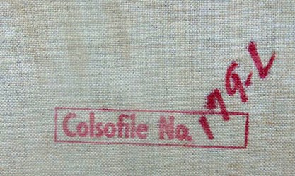 Colson Calendar Company Inkstamp on back canvas detail view