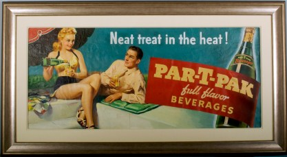 Framed and lined view of soda advertising oil painting