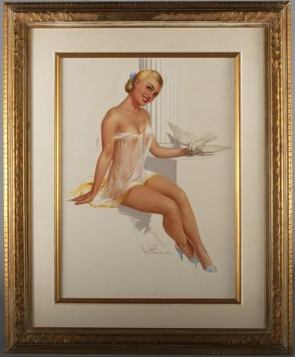 Handsomely silk matted and framed in period vintage gold frame